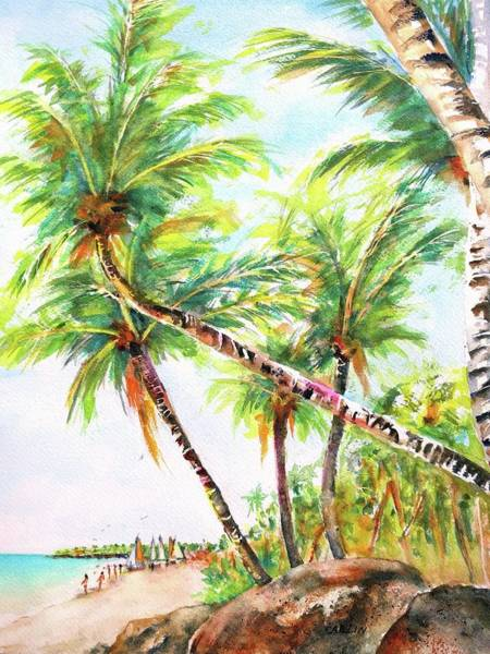 Wall Art - Painting - Tropical Beach Coconut Palms by Carlin Blahnik CarlinArtWatercolor