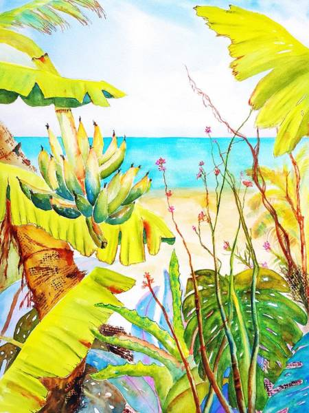 Wall Art - Painting - Tropical Beach Garden by Carlin Blahnik CarlinArtWatercolor