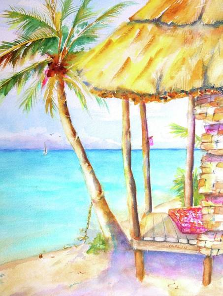 Painting - Tropical Beach Hut Watercolor by Carlin Blahnik CarlinArtWatercolor