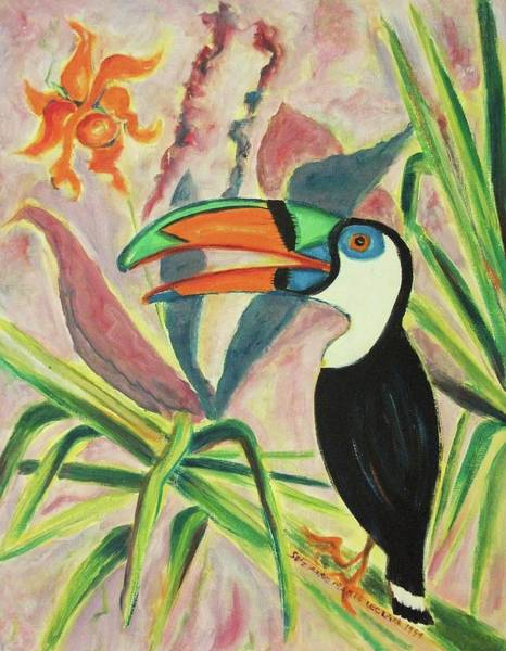 Leclair Painting - Tropical Bird And Plants by Suzanne  Marie Leclair