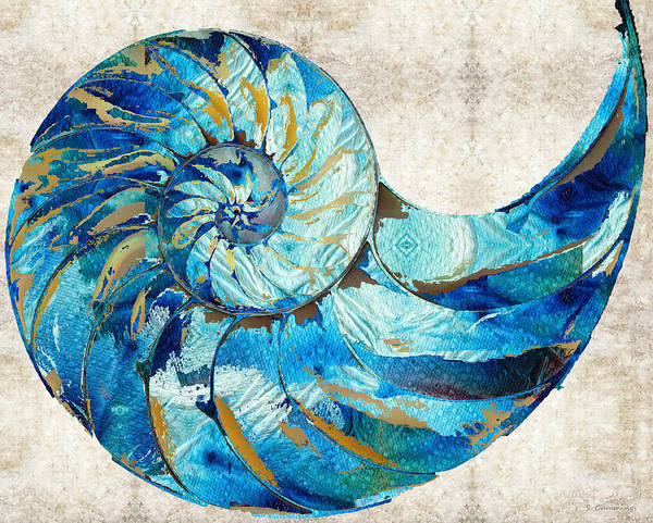 Painting - Tropical Blue Art - Nautilus Shell Bleu 2 - Sharon Cummings by Sharon Cummings