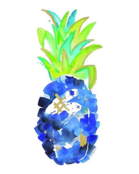 Pineapple Painting - Tropical Cobalt Blue Pineapple by Roleen Senic