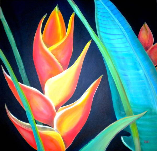 Golden Bloom Painting - Tropical by Debi Starr