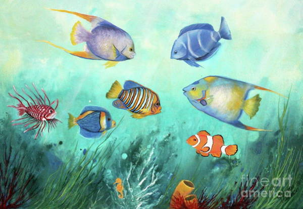 Wall Art - Painting - Tropical Fishes by Gabriela Valencia