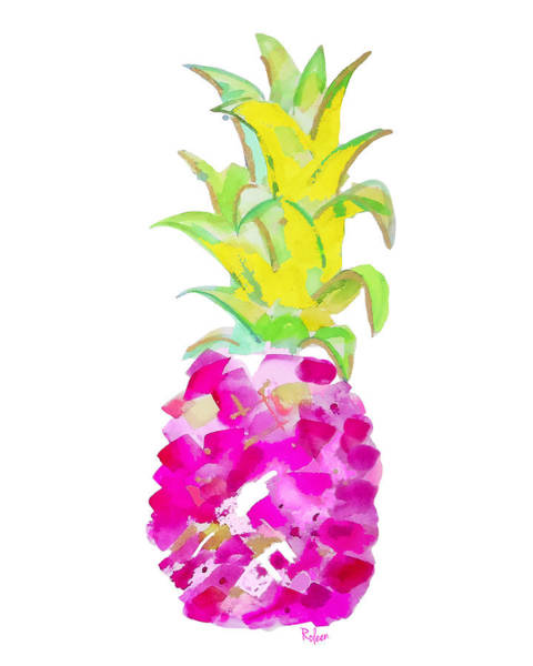 Pineapple Painting - Tropical Fuchsia And Gold by Roleen Senic