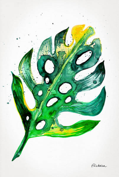 Painting - Tropical Greenery - Philodendron Leaf by Ekaterina Chernova