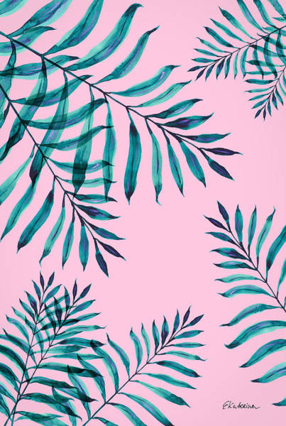 Painting - Tropical Greenery On Pink by Ekaterina Chernova