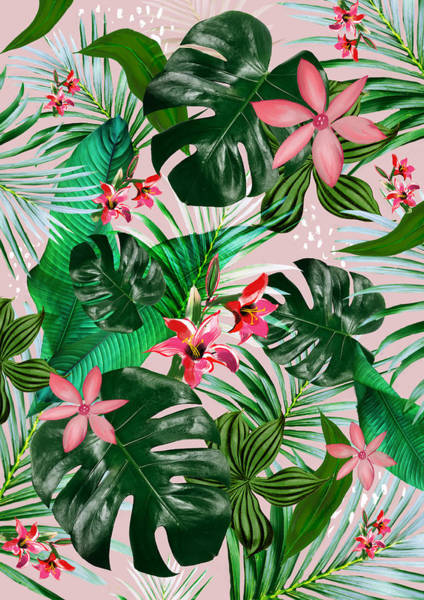 Banana Leaf Mixed Media - Tropical Hawaii Palm And Fowers by Chrissy Ink
