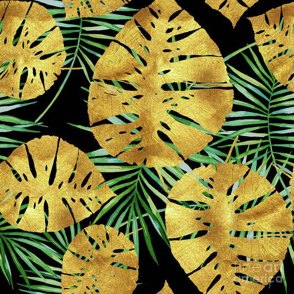 Palm Frond Digital Art - Tropical Haze Noir II Gold Monstera Leaves, Green Palm Fronds by Tina Lavoie