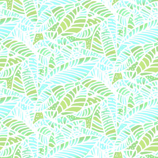 Digital Art - Tropical Lagoon Leaves by Karen Dyson