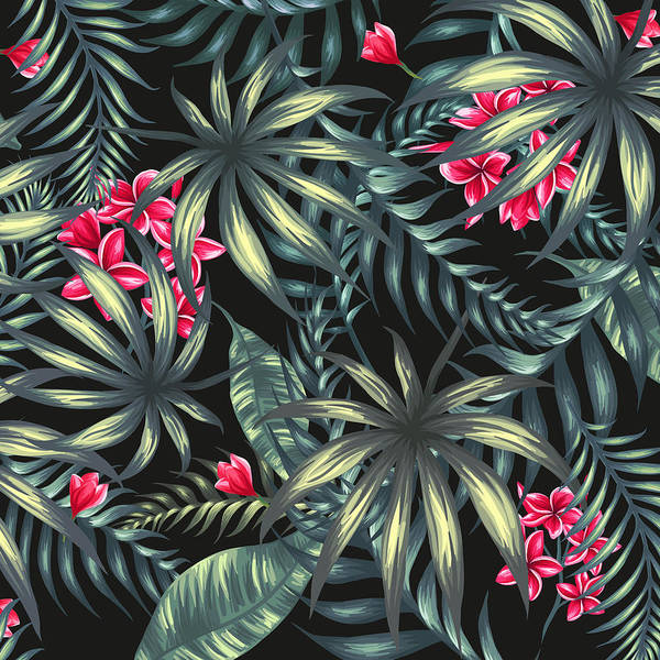 Aloha Wall Art - Painting - Tropical Leaf Pattern  by Stanley Wong