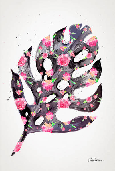 Painting - Tropical Leaf - Philodendron Black Pink by Ekaterina Chernova