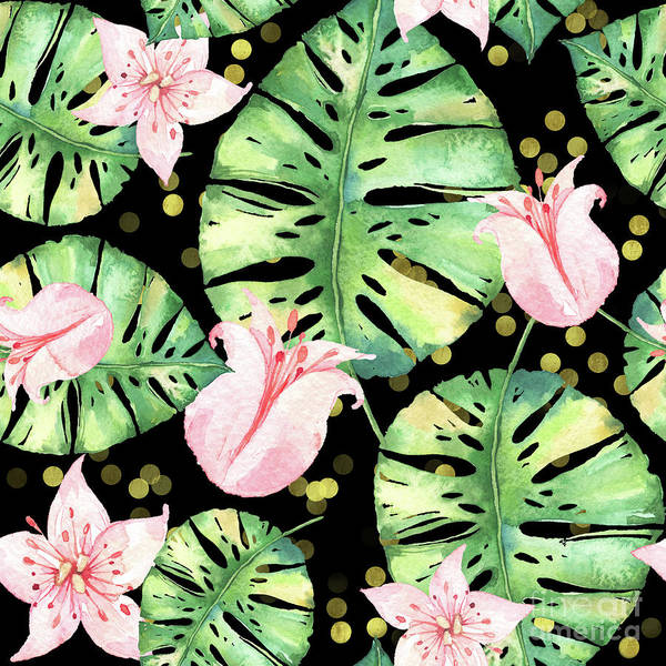 Wall Art - Painting - Tropical Monstera And Pink Tulip Pattern by Tina Lavoie