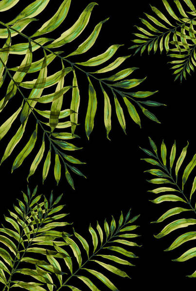 Painting - Tropical Night - Greenery On Black by Ekaterina Chernova
