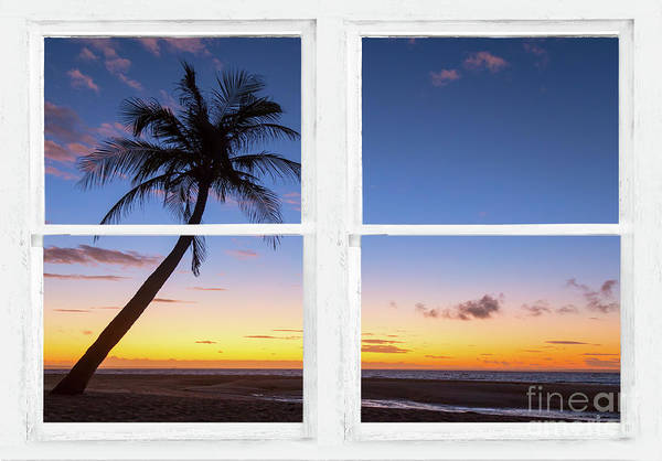 Photograph - Tropical Paradise Colorful Sunset Whitewash Window View by James BO Insogna