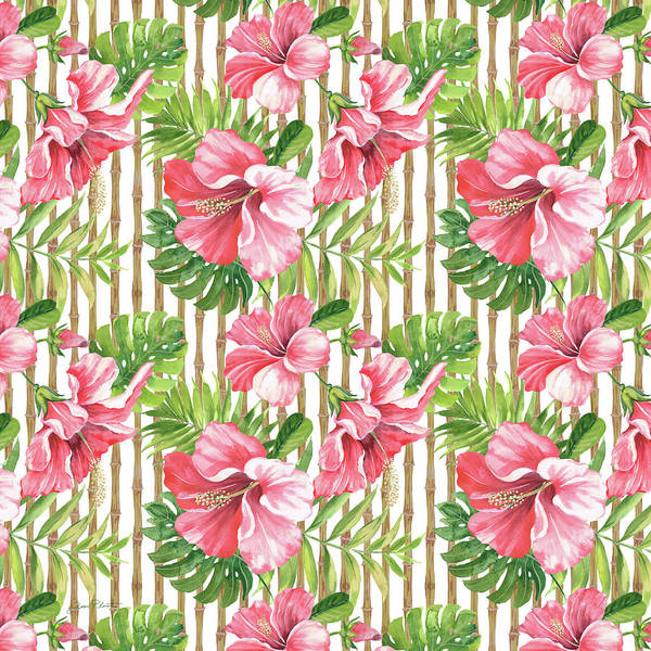 Hibiscus Painting - Tropical Paradise-jp3964 by Jean Plout