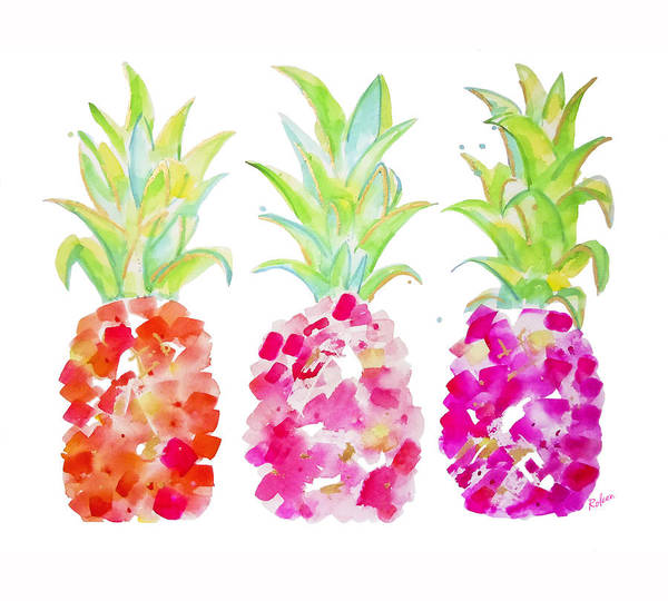 Pineapple Painting - Tropical Pink And Gold by Roleen Senic