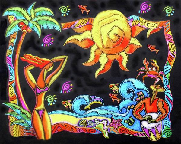 Sunbathing Painting - Tropical Resort  by Leon Zernitsky