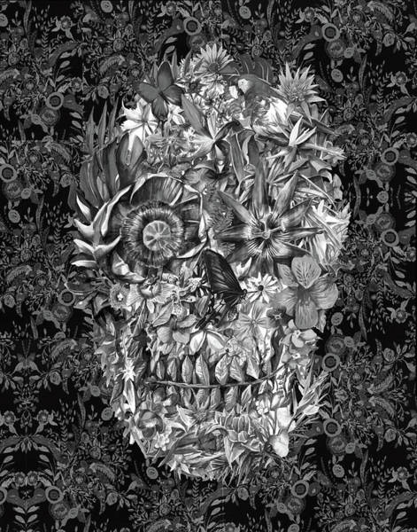 White Zombie Painting - Tropical Skull 3 by Bekim Art