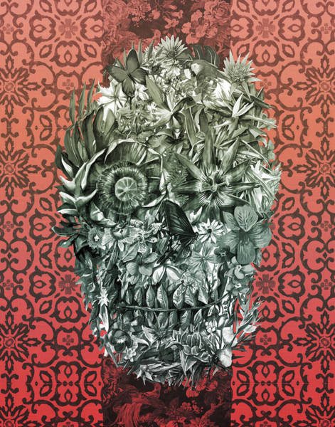 Psychedelic Image Painting - Tropical Skull 4 by Bekim Art