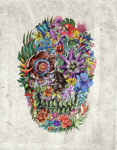 Psychedelic Image Painting - Tropical Skull by Bekim Art