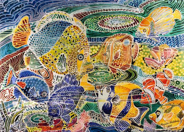 Batik Wall Art - Painting - Tropical Splendor Batik by Marcia Baldwin