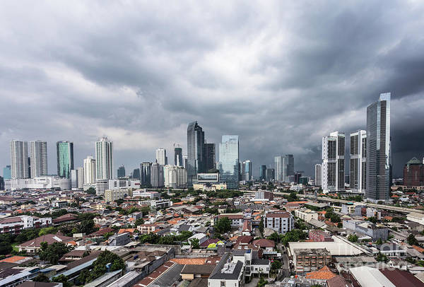 Photograph - Tropical Storm Coming Over Jakarta Business District In Indonesi by Didier Marti
