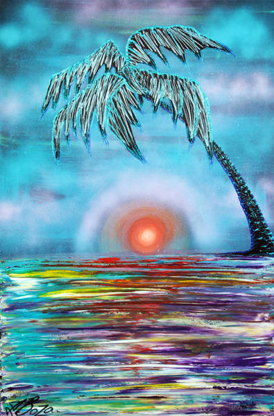 Wall Art - Painting - Tropical Sunset by Laura Barbosa