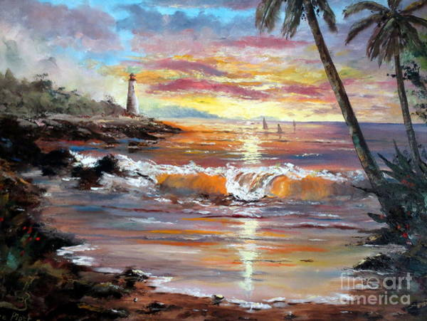 South Pacific Painting - Tropical Sunset by Lee Piper