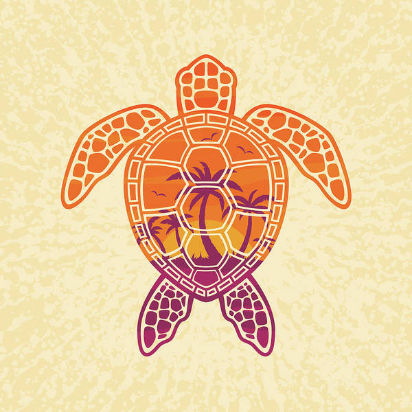 Palm Trees Digital Art - Tropical Sunset Sea Turtle Design by John Schwegel