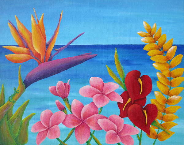 Wall Art - Painting - Tropical View by Pamela Allegretto