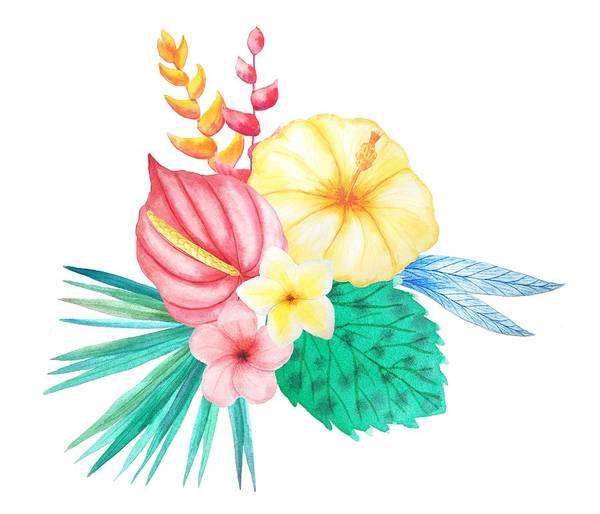 Hibiscus Flower Painting - Tropical Watercolor Bouquet 2 by Elaine Plesser