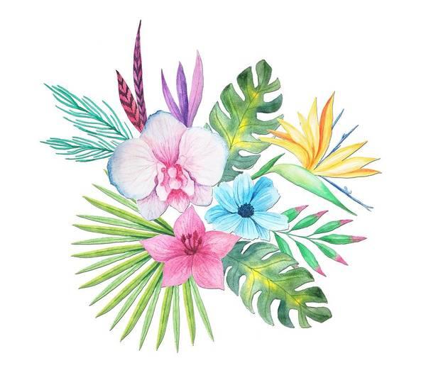 Tropical Watercolor Bouquet 3 Art Print