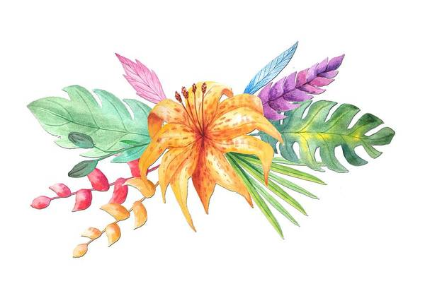 Hibiscus Flower Painting - Tropical Watercolor Bouquet 4 by Elaine Plesser