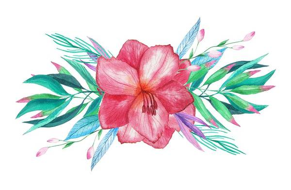 Hibiscus Flower Painting - Tropical Watercolor Bouquet 5 by Elaine Plesser