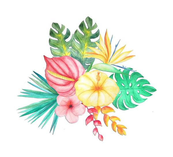 Hibiscus Flower Painting - Tropical Watercolor Bouquet 6 by Elaine Plesser