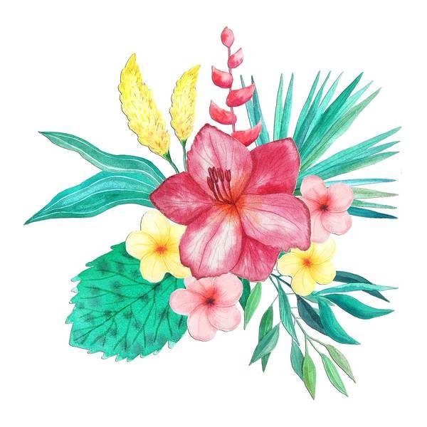 Tropical Watercolor Bouquet 9 Art Print