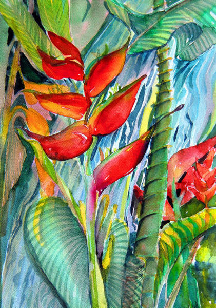 Bird Of Paradise Painting - Tropical Waterfall by Mindy Newman