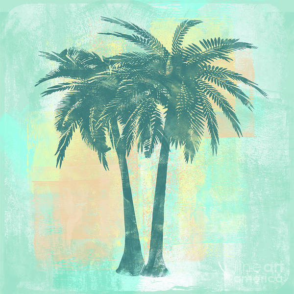 Sponge Painting - Tropicalifornia II Sponge Painted Abstract Tropical Palm Trees by Tina Lavoie