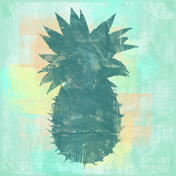Pineapples Digital Art - Tropicalifornia, Sponge Painted Abstract Tropical Pineapple by Tina Lavoie