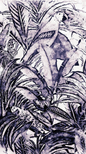 Green Parrot Drawing - Tropicana - 02 by Andrea Mazzocchetti