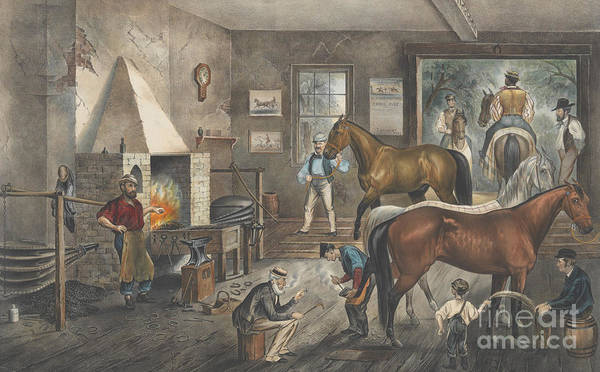 Wall Art - Painting - Trotting Cracks At The Forge by Currier and Ives