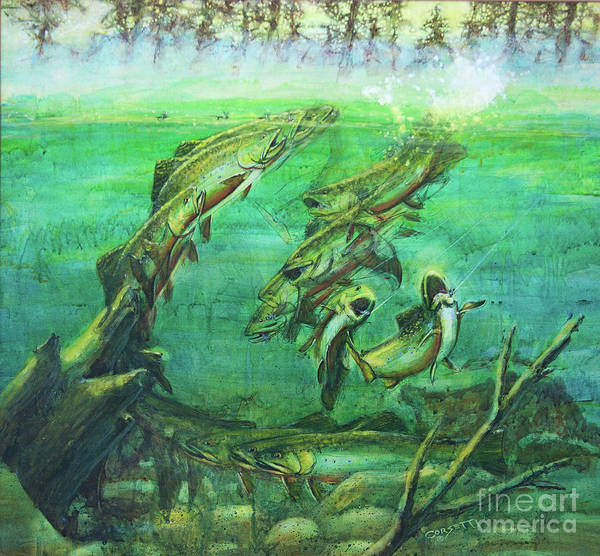 Painting - Fish On Trout Battle by Rob Corsetti