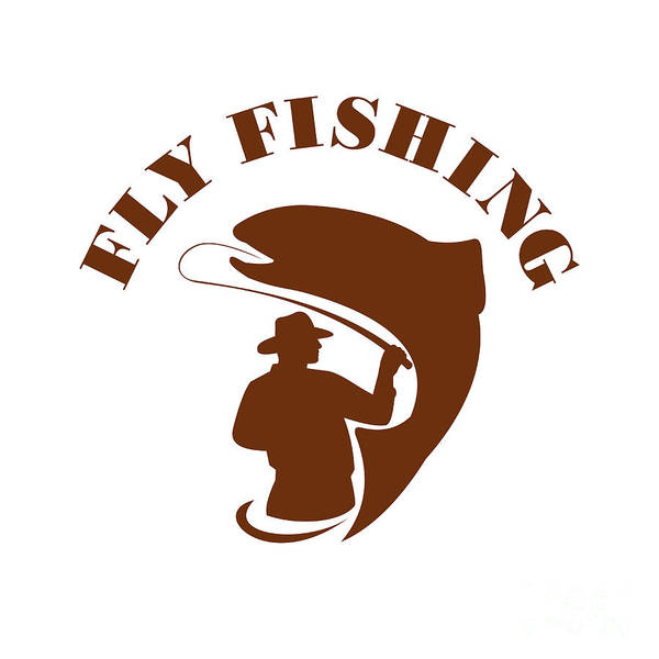 Wall Art - Digital Art - Trout Fly Fishing Isolated Retro by Aloysius Patrimonio
