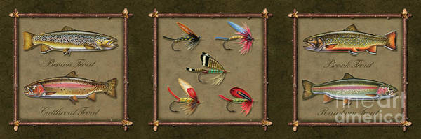 Painting - Trout Fly Panel by JQ Licensing