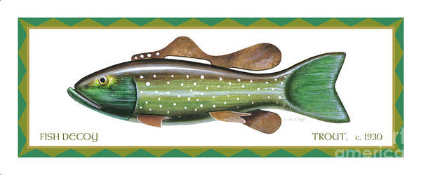 Painting - Trout Ice Fishing Decoy by Jon Q Wright