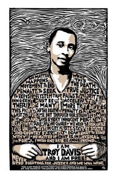 Rights Mixed Media - Troy Davis by Ricardo Levins Morales