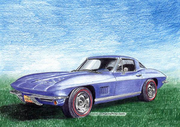 American Car Drawing - Tru Blu 1967 Corvette Stingray by Jack Pumphrey