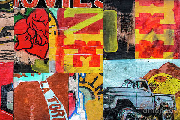 Wall Art - Mixed Media - Truck And Roses by Terry Rowe