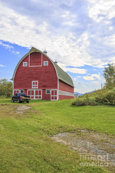 New England Barn Photograph - Truck In Front Of Classic Old Red Barn In Vermont by Edward Fielding